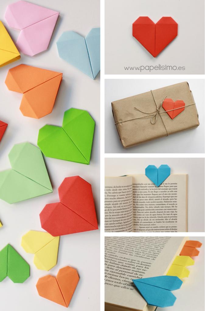 como hacer corazon de papel origami san valentin paso a paso marcapáginas
