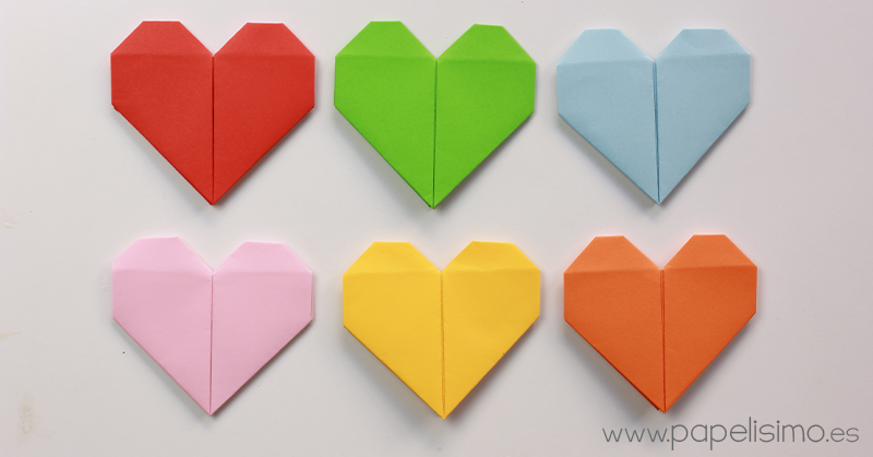 coraz n de papel tarjeta de san valent n origami papelisimo