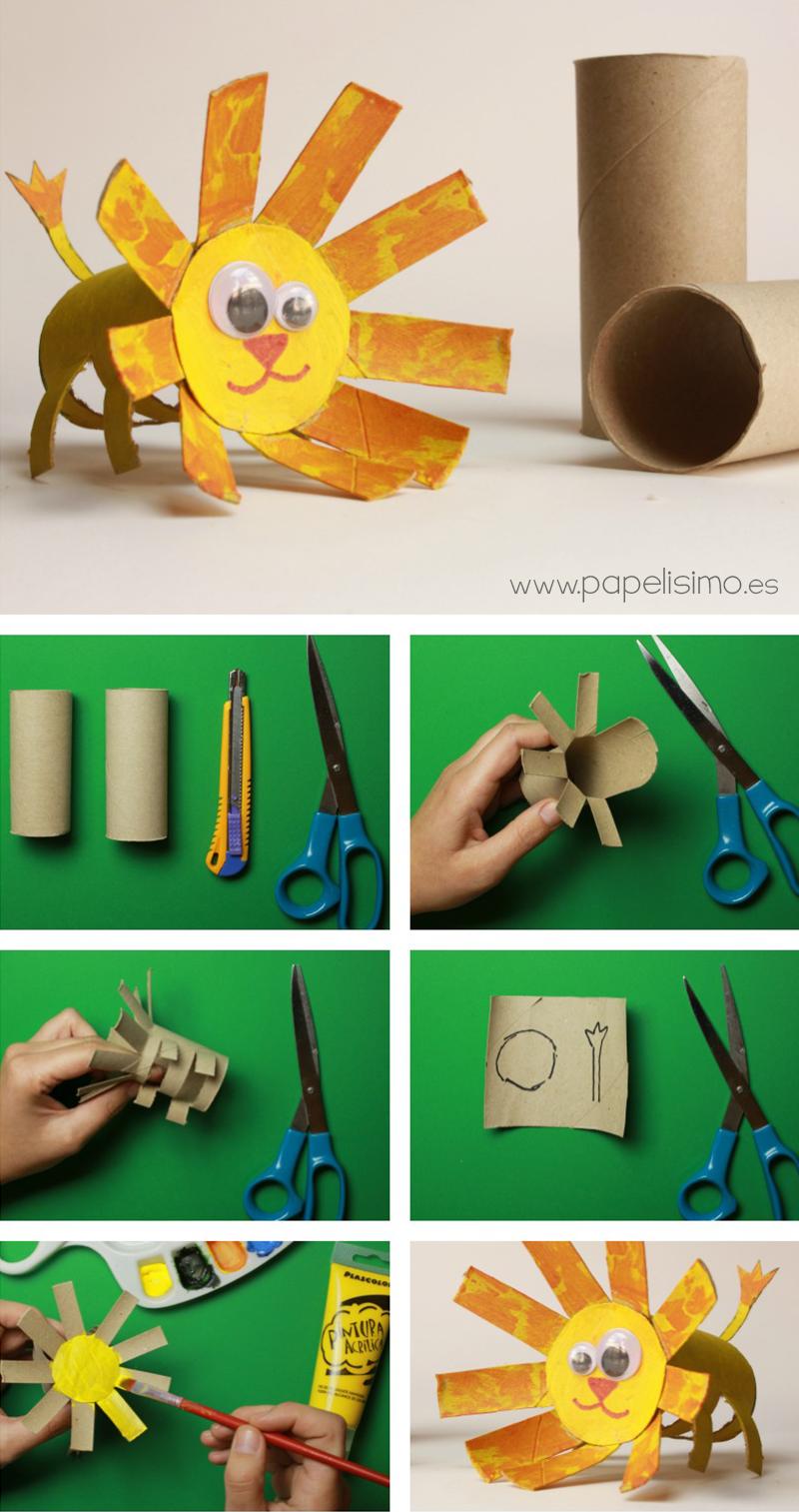 animales le n manualidades con rollos de papel higi nico On animales con rollos de papel higienico