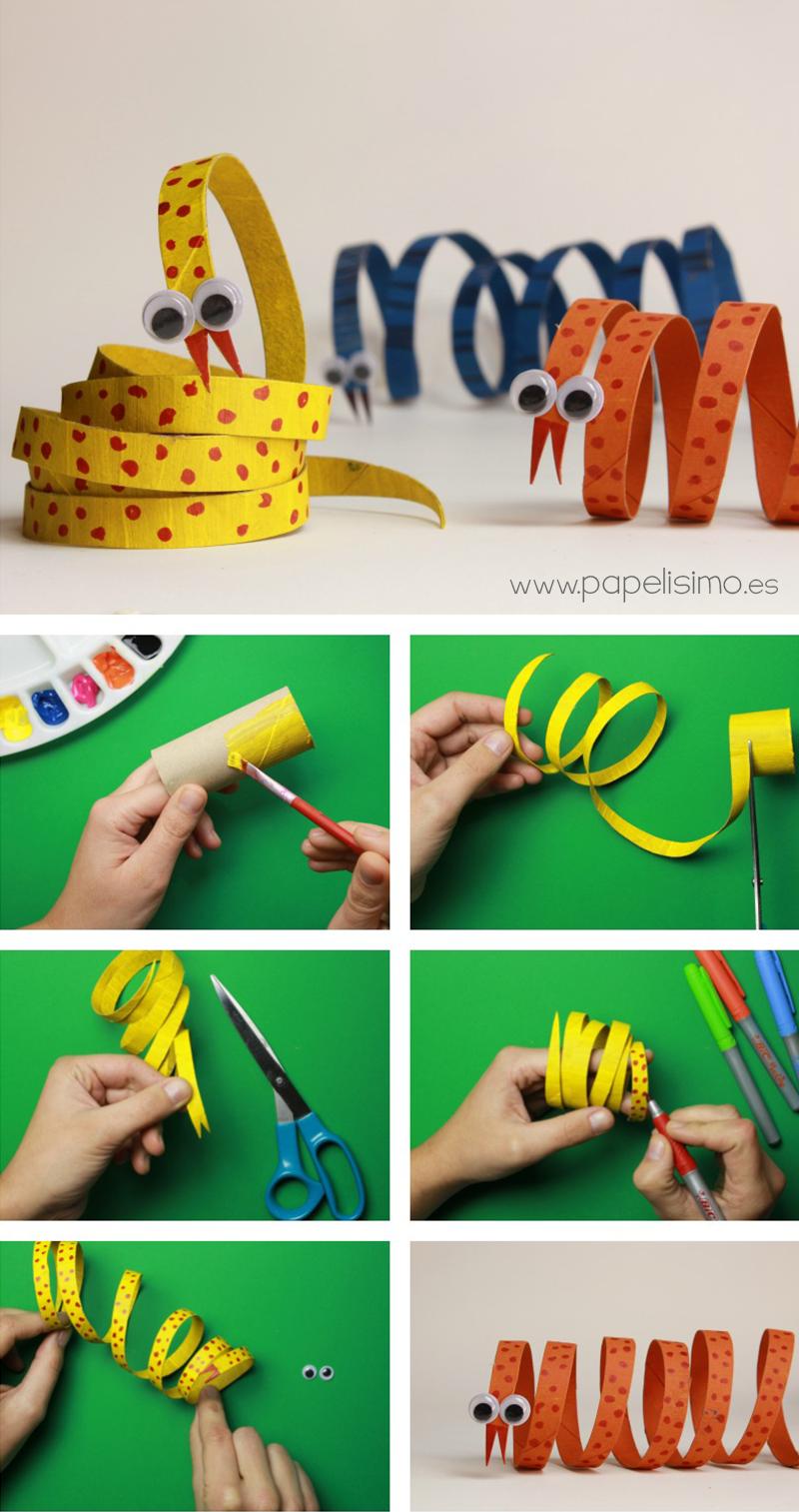 como hacer serpiente rollo carton papel higienico paper tube snake
