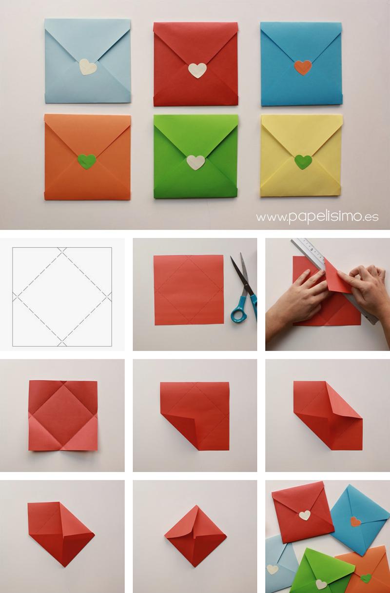 como hacer sobre de papel cuadrado para tarjeta paso a paso