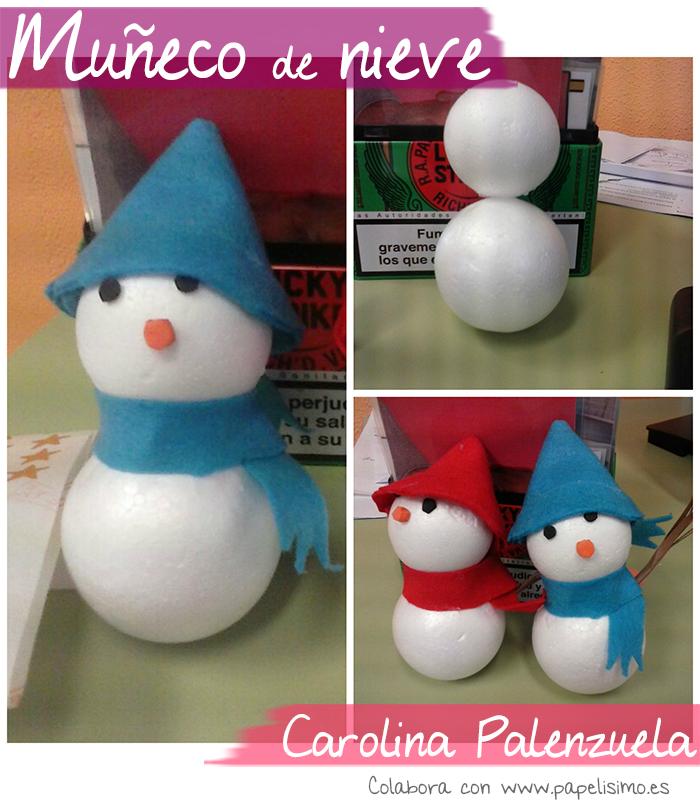muñeco de nieve con bolas de corcho