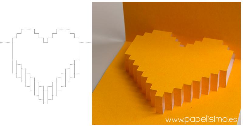 Tarjeta de corazón 3D para San Valentin (pop-up) - PAPELISIMO