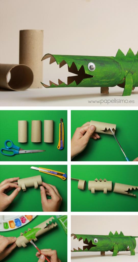 como hacer cocodrilo rollo carton papel higienico toilet paper tube cocodrile diy