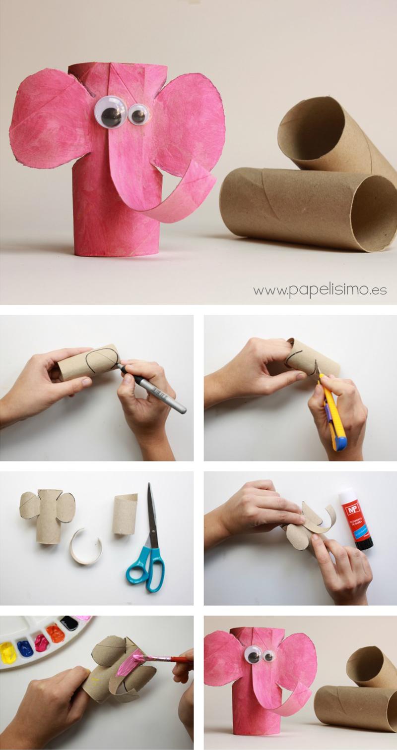 Elefante con rollos de papel higi nico me gusta reciclar - Decoracion con rollos de papel higienico ...
