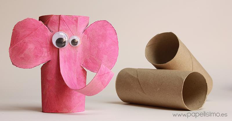 Elefante con rollos de papel higi nico me gusta reciclar - Manualidades con rollos de papel higienico para decorar ...