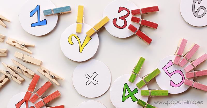 juego matematico niños pinzas de colores