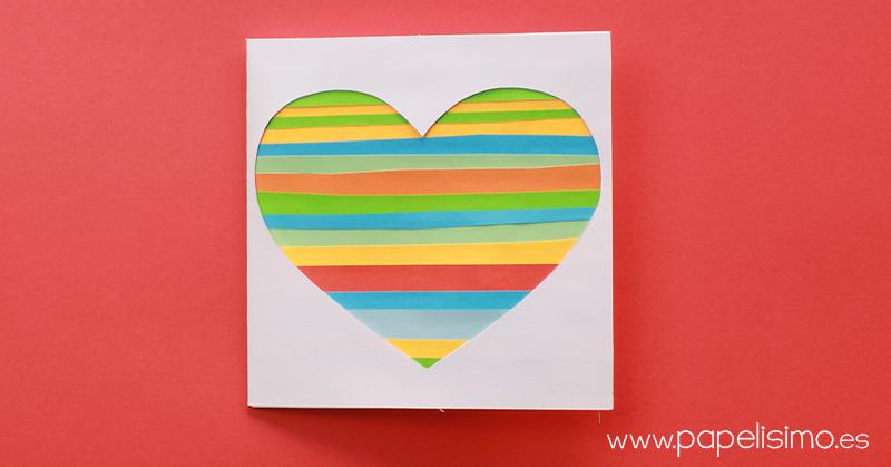 tarjeta san valentín upcycling reciclaje con recortes de papel