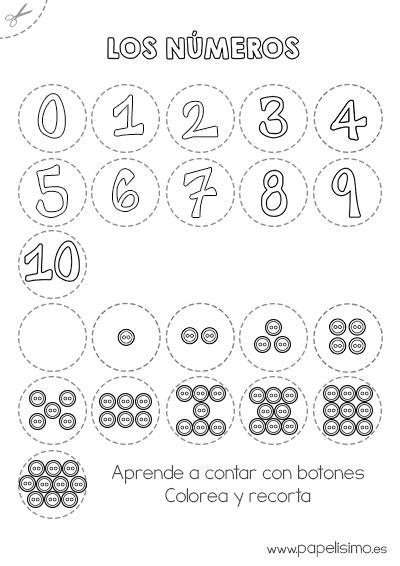 Números para colorear y recortar 0-10 - PAPELISIMO