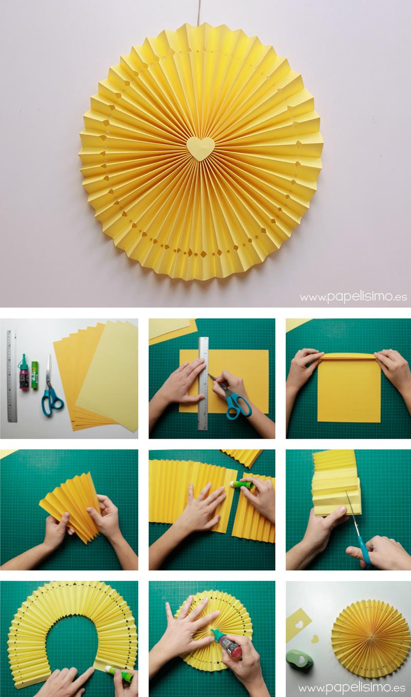 C mo hacer rosetas o medallones de papel para fiestas - Manualidades de papel para decorar ...