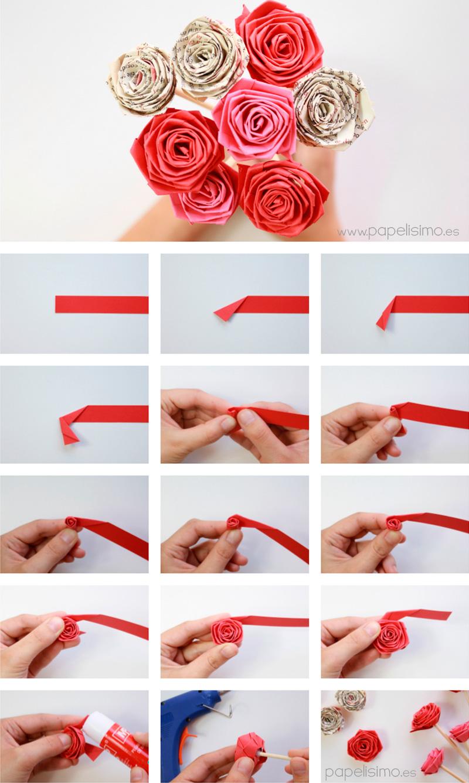 Делаем розу из бумаги своими руками 10