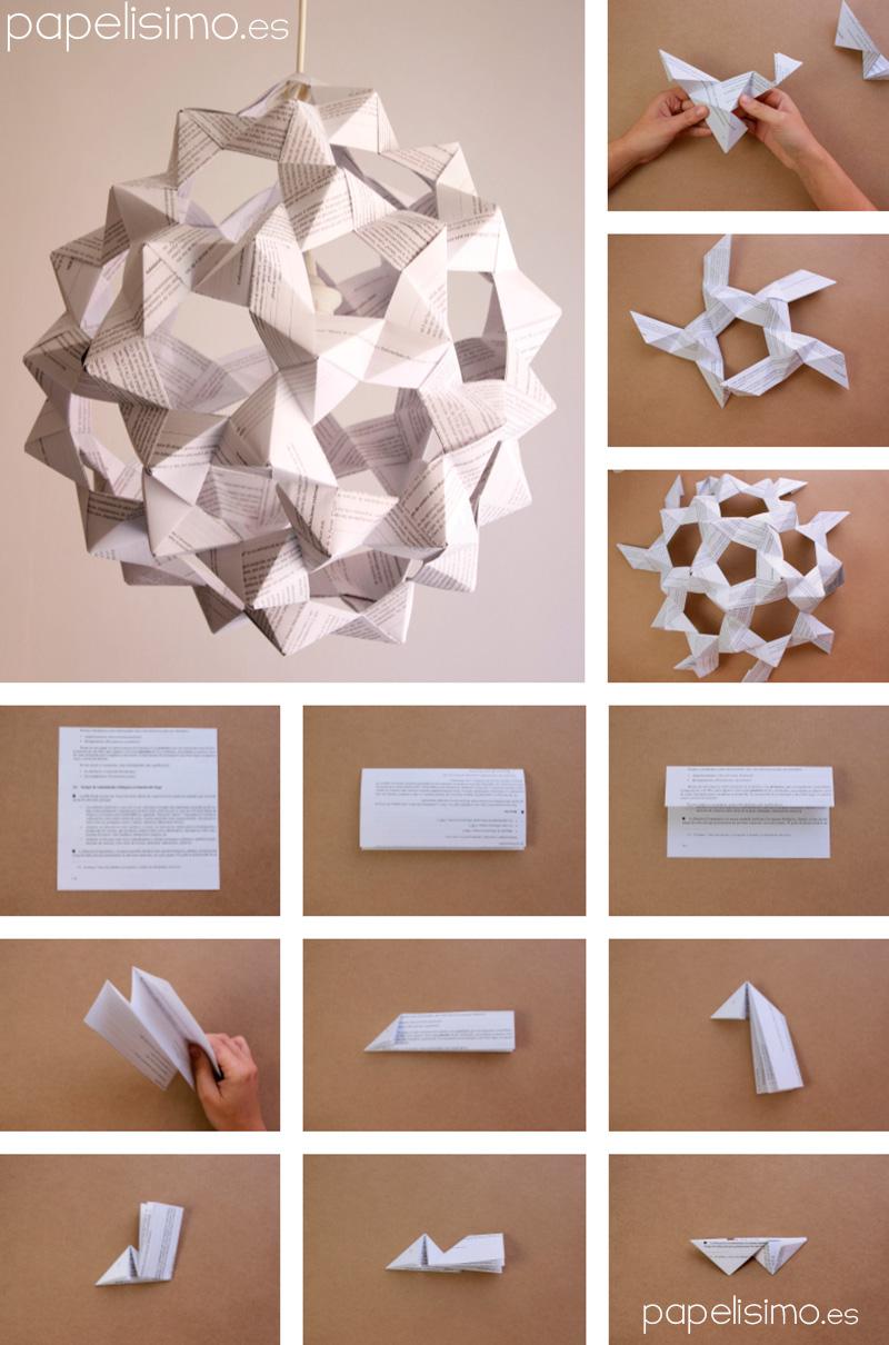 C mo hacer l mpara de papel icosaedro truncado papelisimo - Como hacer una lampara de pared ...