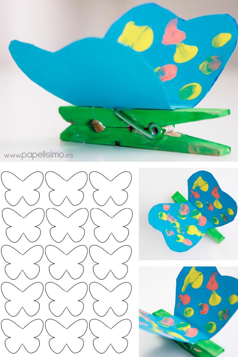 Pinzas-de-la-ropa--mariposas-plantilla-Butterfly-clips-clothes