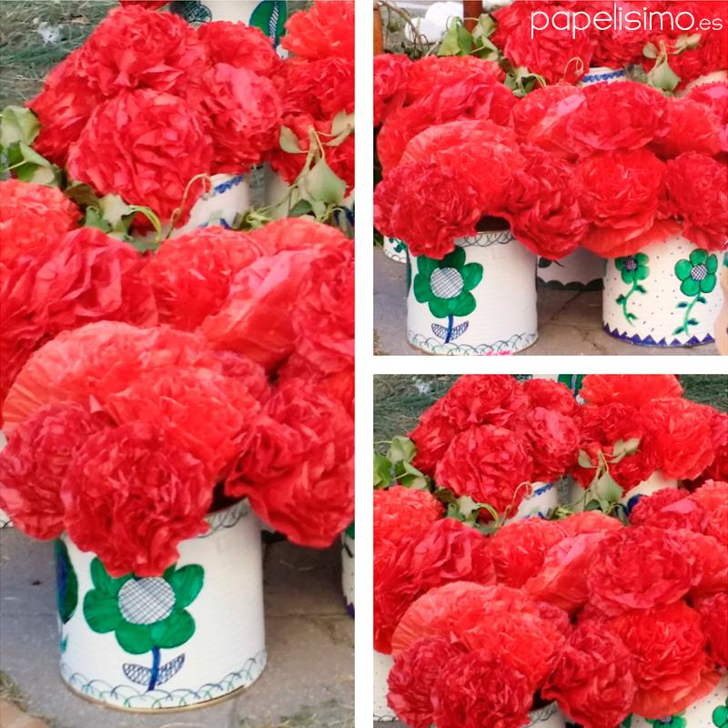 flores-claveles-de-papel-latas-manualidades-dia-de-la-cruz