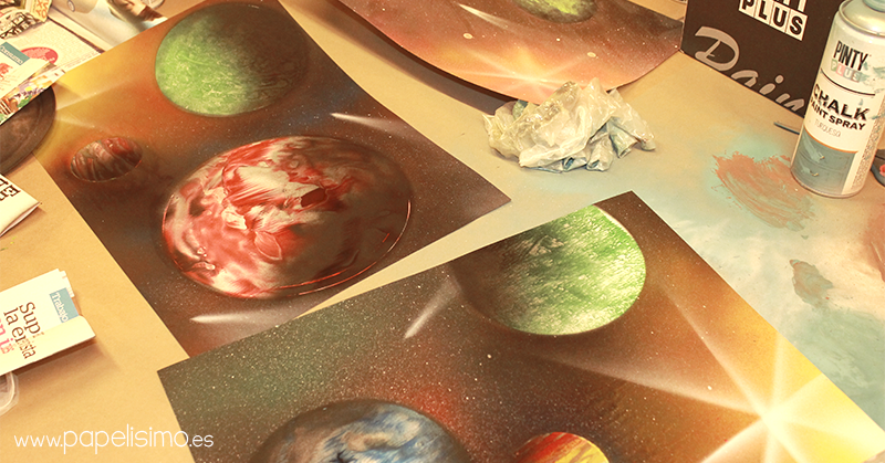 Paint art Pintar planetas con spray