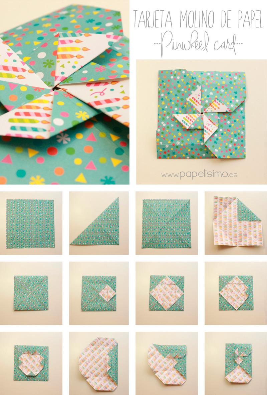 c mo hacer tarjeta con forma de molinillo de papel