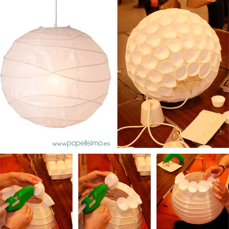 Como Hacer Lampara De Papel Con Cupcakes Papelisimo - Ideas-para-hacer-lamparas