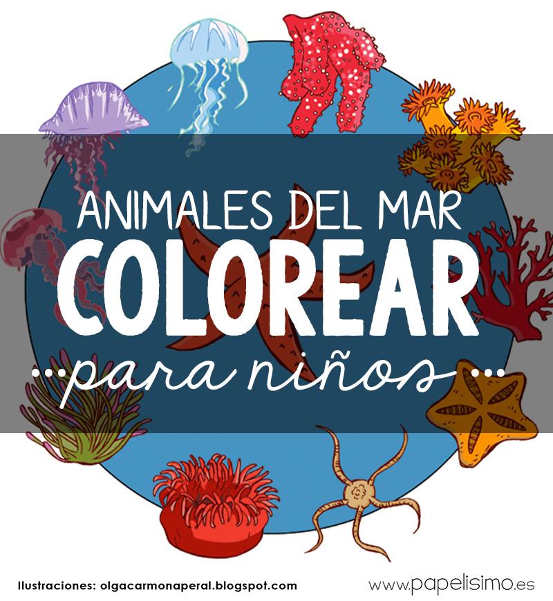 Animales del mar para imprimir y colorear - PAPELISIMO