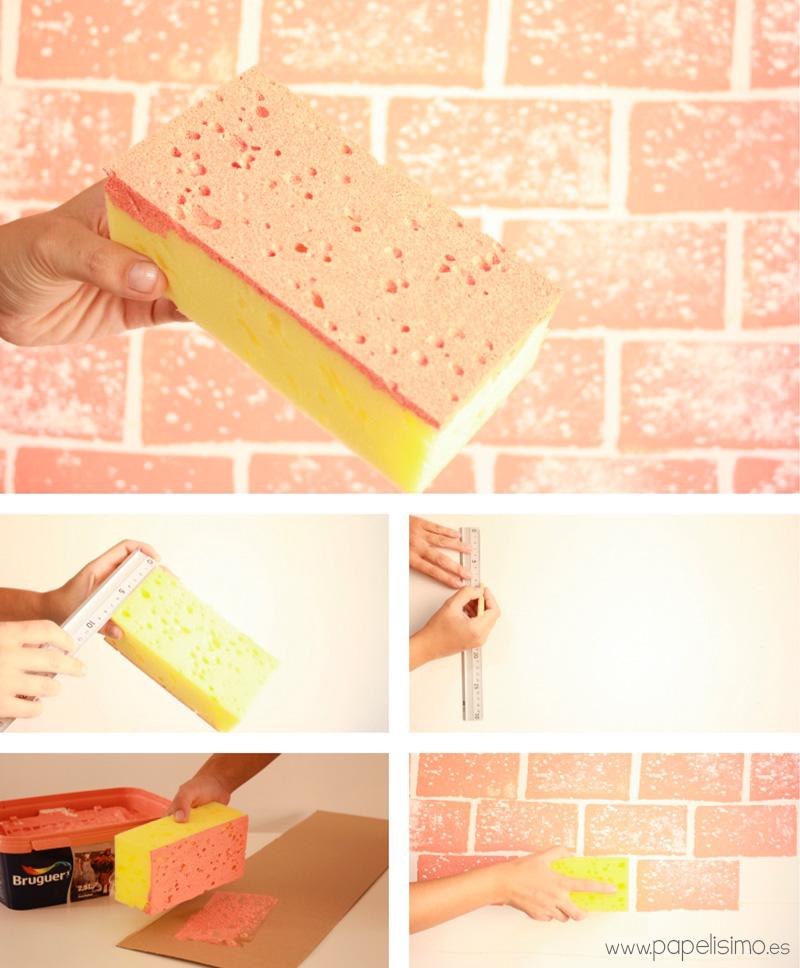 Como-pintar-pared-imitacion-ladrillos-con-esponja