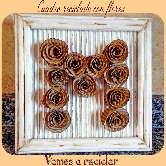 Cuadro-reciclado-con-flores-de-carton