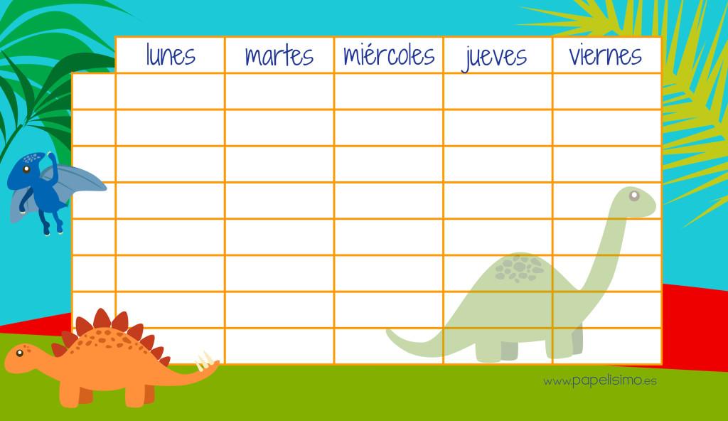 Horario-semanal-imprimir-dinosaurios