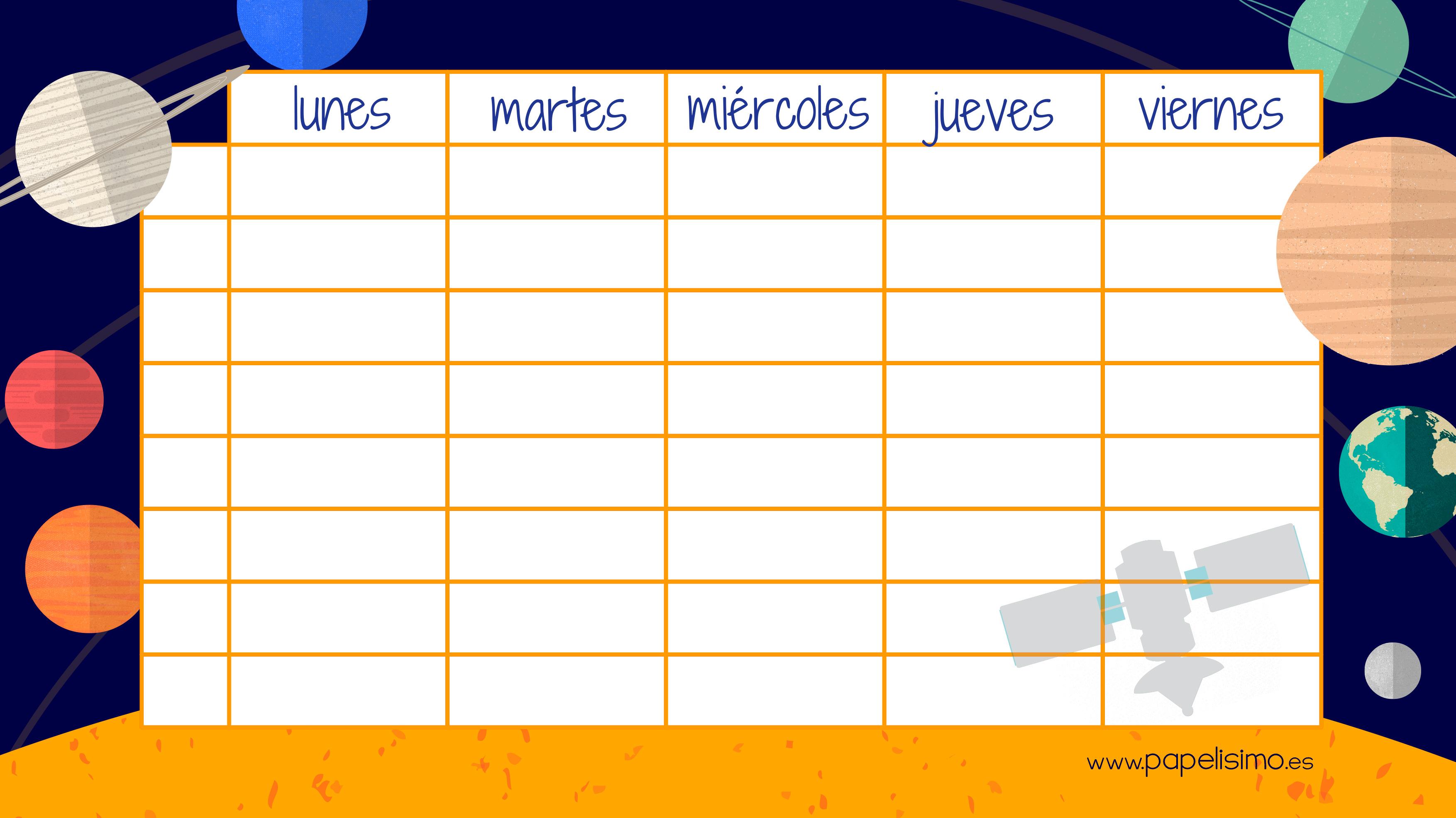 Sistema Solar para niños: Horario y etiquetas para el cole