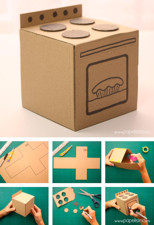 Cocina de cart n hecha a mano papelisimo for Como se hace una pileta de material
