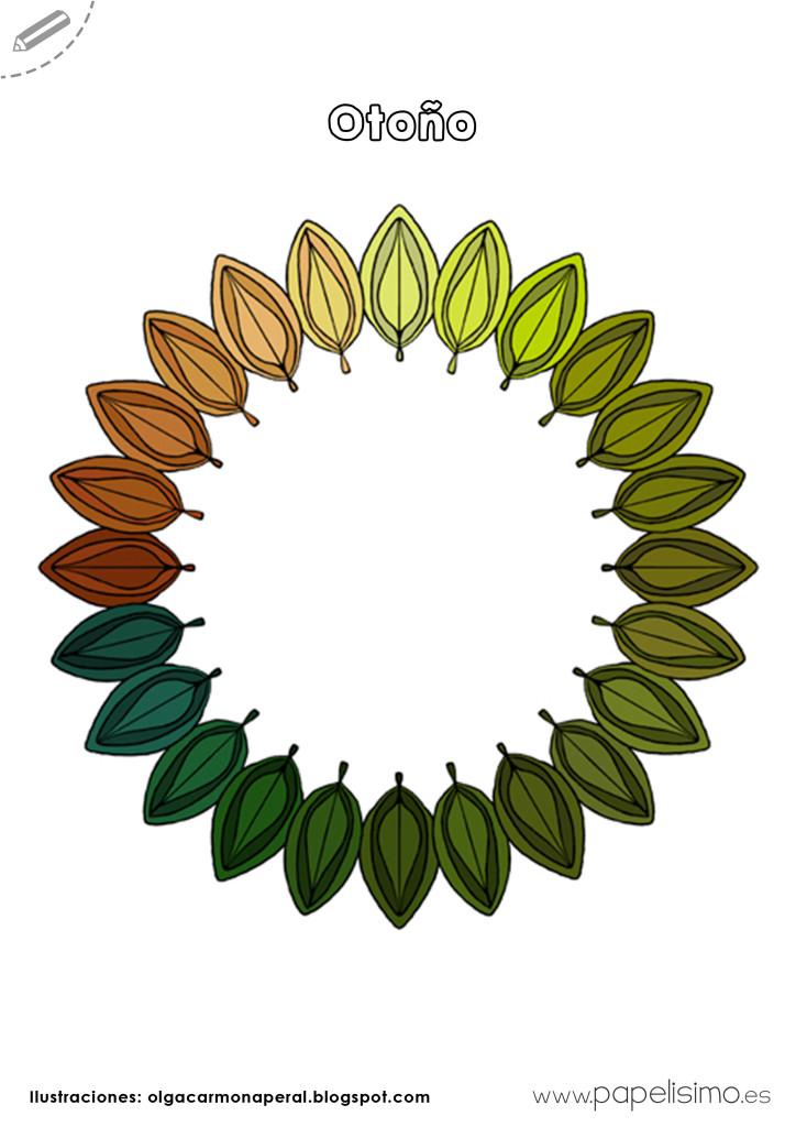 Hojas de otoño para colorear - PAPELISIMO