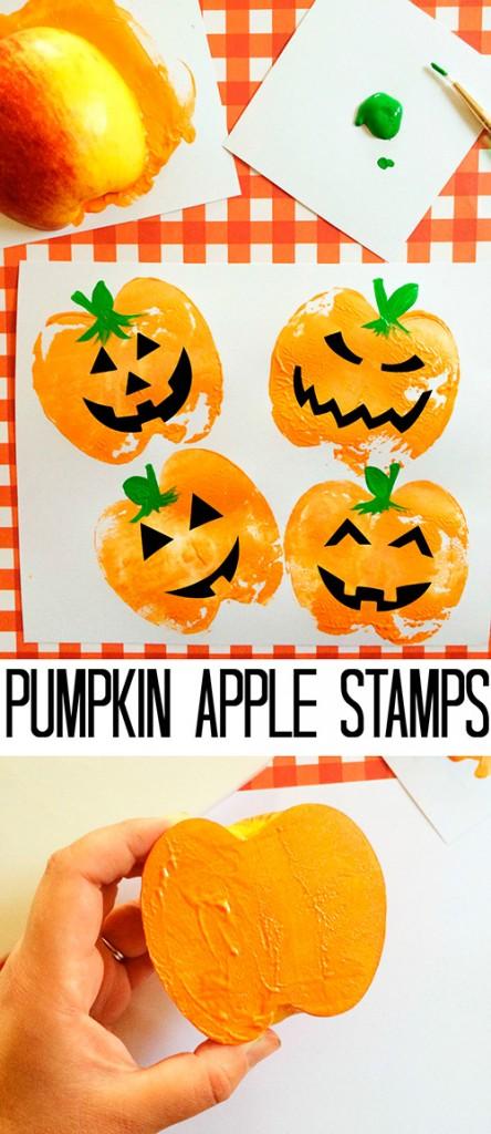 Estampar-calabazas-de-Halloween-con-manzanas