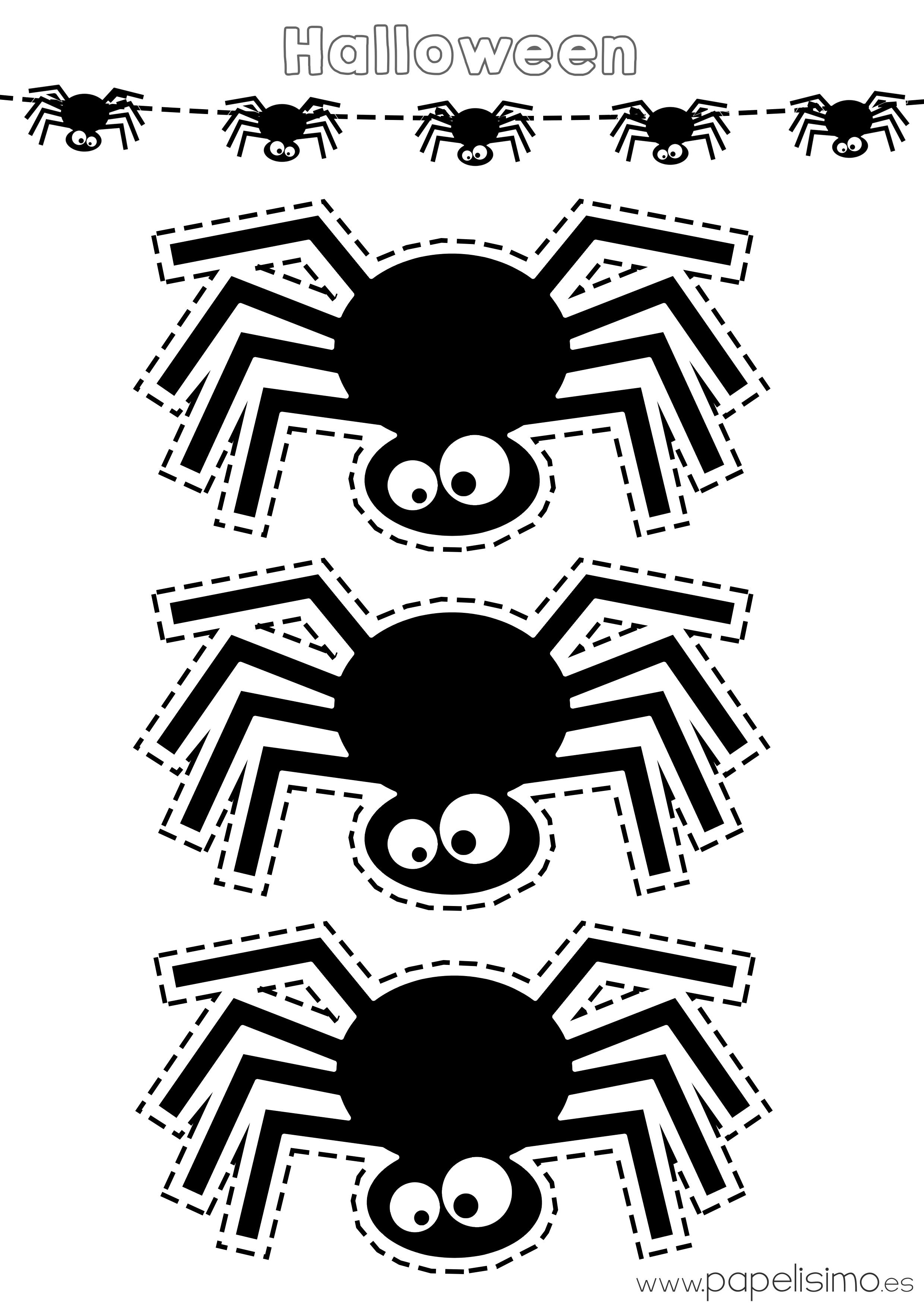 Plantillas de ara as de halloween papelisimo - Decoracion halloween para imprimir ...