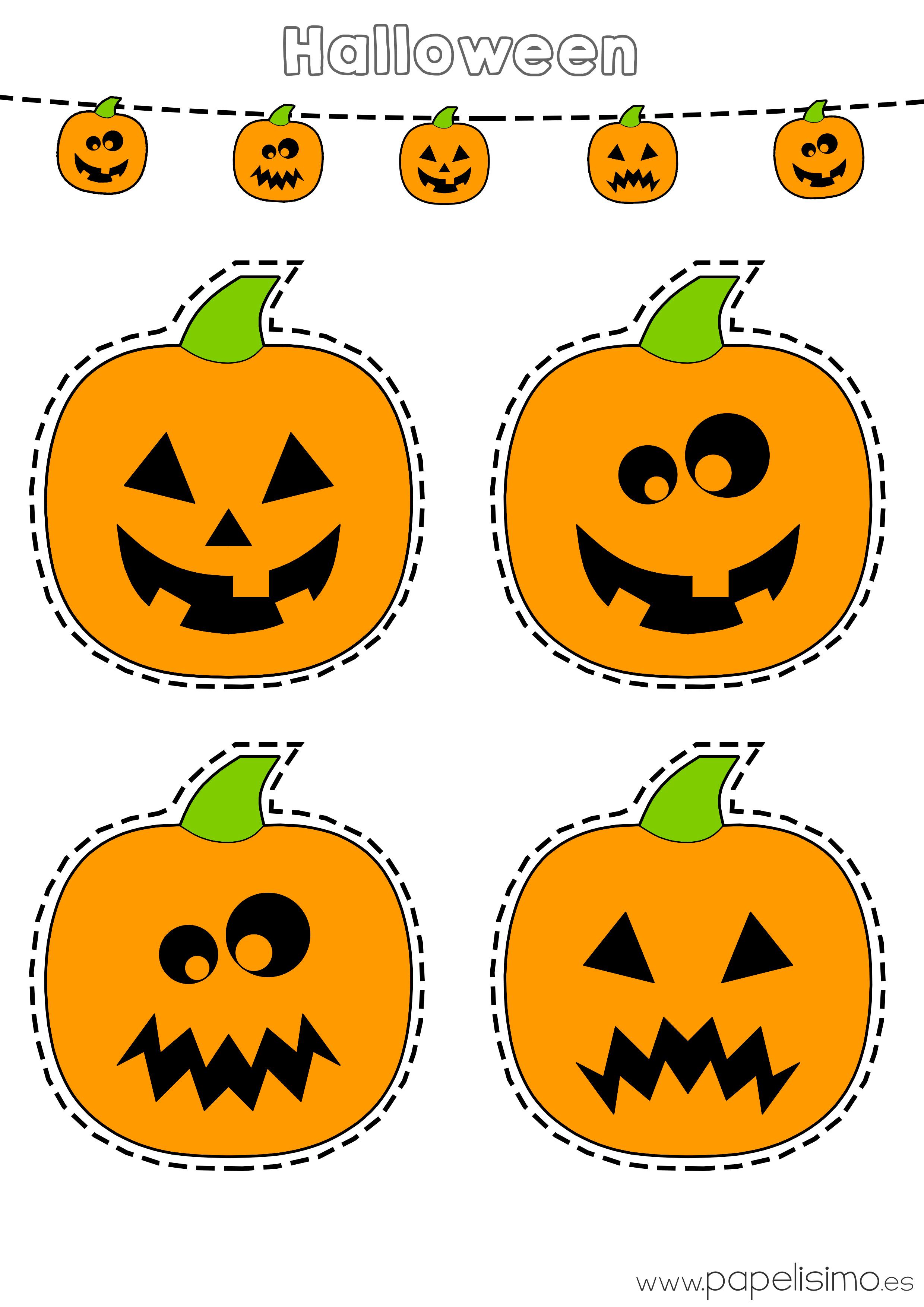 Dibujos de calabazas de halloween para recortar papelisimo - Plantillas para decorar calabazas halloween ...
