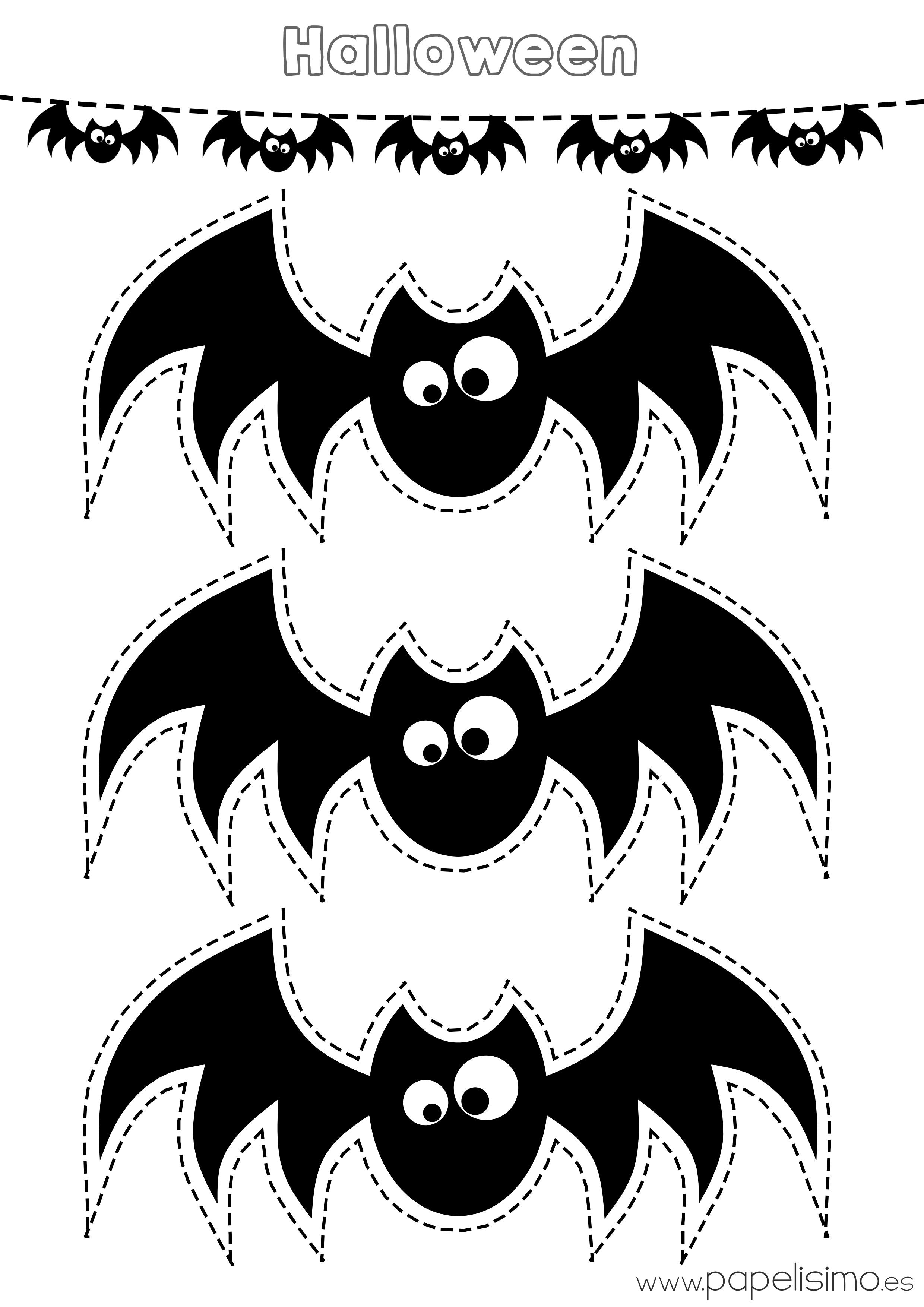 siluetas de murci lagos para colorear y recortar papelisimo On murcielagos halloween para imprimir