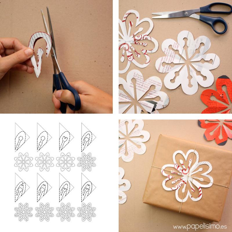 Copos de nieve de papel con revistas papelisimo - Manualidades con papel periodico paso a paso ...