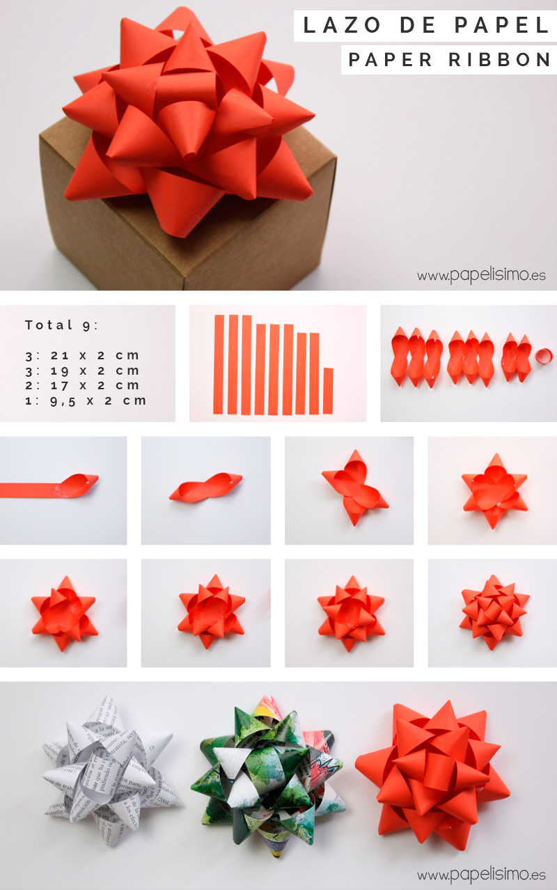 C mo hacer lazos de papel para regalos papelisimo - Hacer cosas para navidad ...