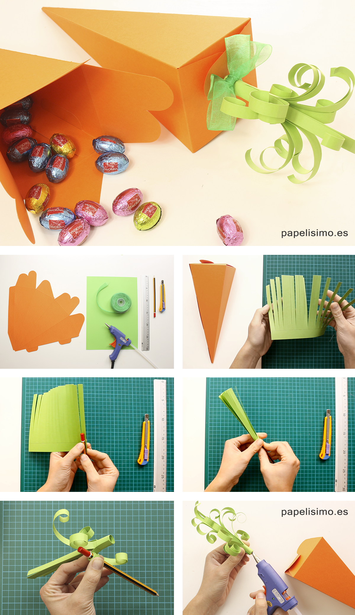 Cajas zanahoria cartulina Pascua DIY Paper carrots Easter