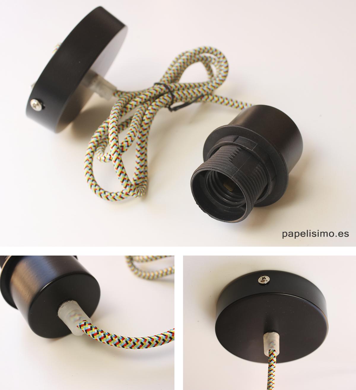 Casquillo cable y soporte para lampara de techo