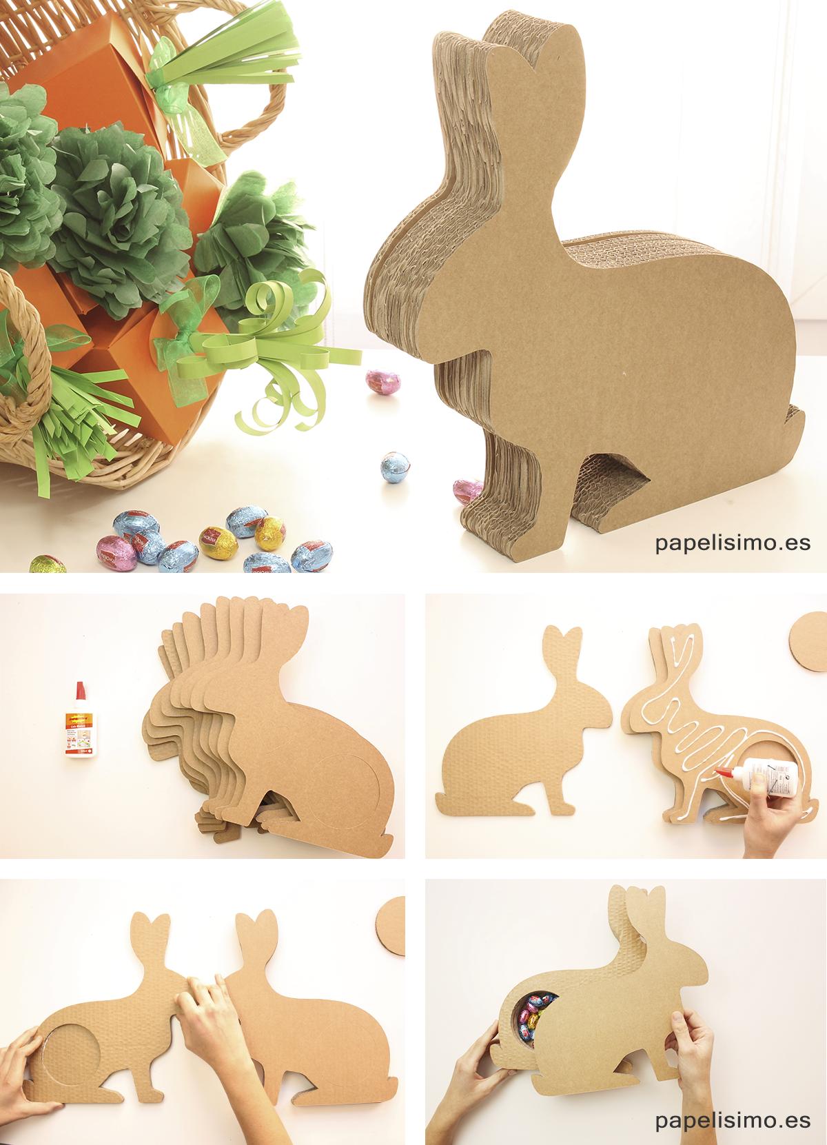 Conejo caja de carton Pascua DIY Easter cardboard rabbit