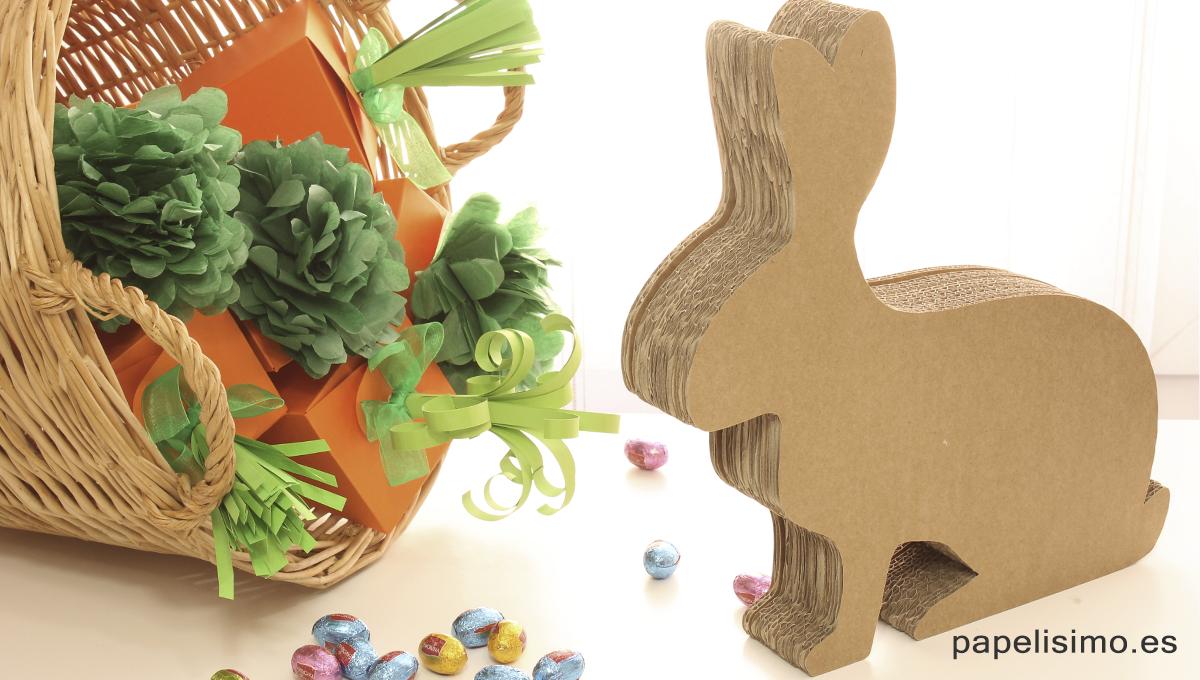 Conejo de carton Pascua Easter cardboard rabbit
