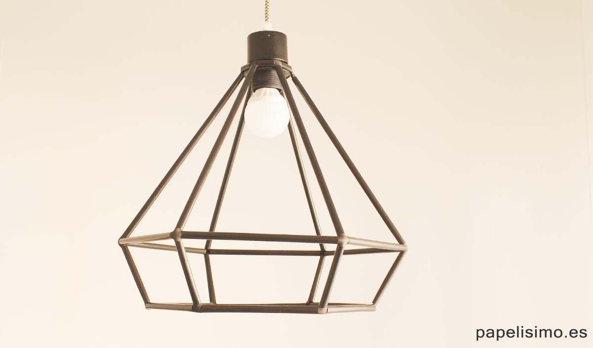 L mpara geom trica con pajitas popotes paso a paso for Modelos de lamparas