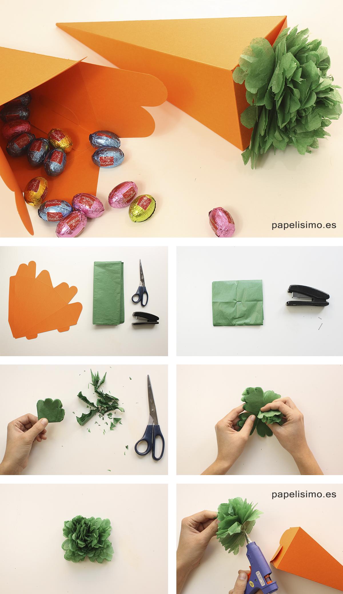 Zanahoria de papel de seda crepe Pascua DIY Paper carrots Easter