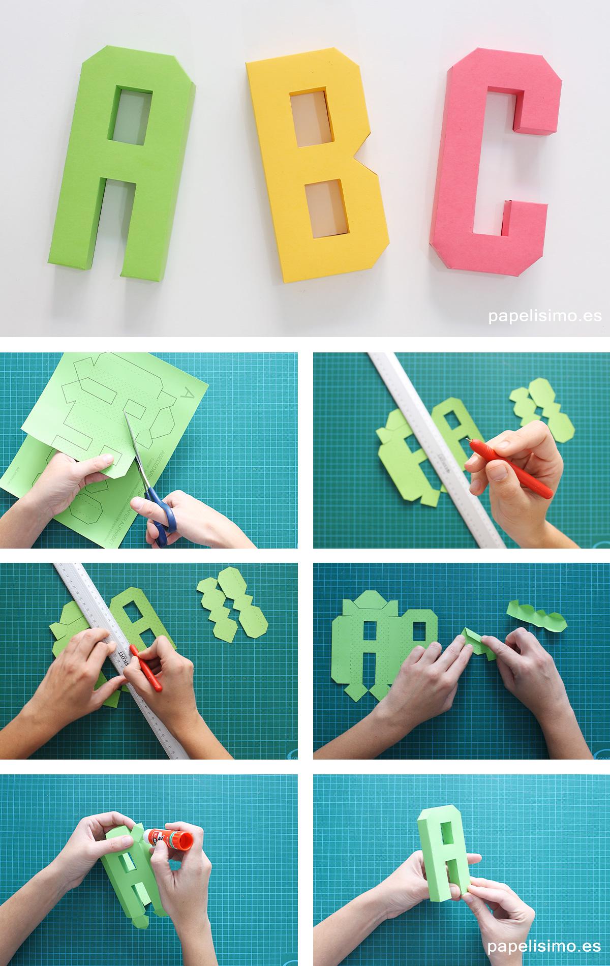 C mo hacer letras 3d de papel o cartulina abecedario a z for Crear habitacion 3d online