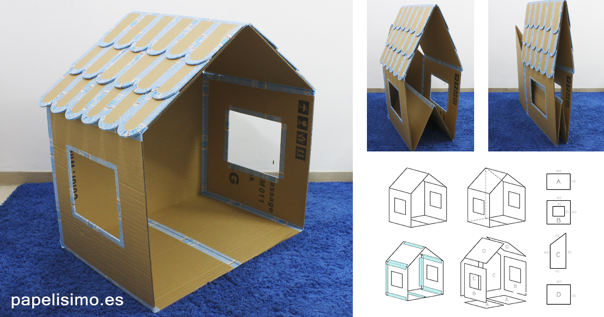 Casa de cartón plegable DIY Folding cardboard house