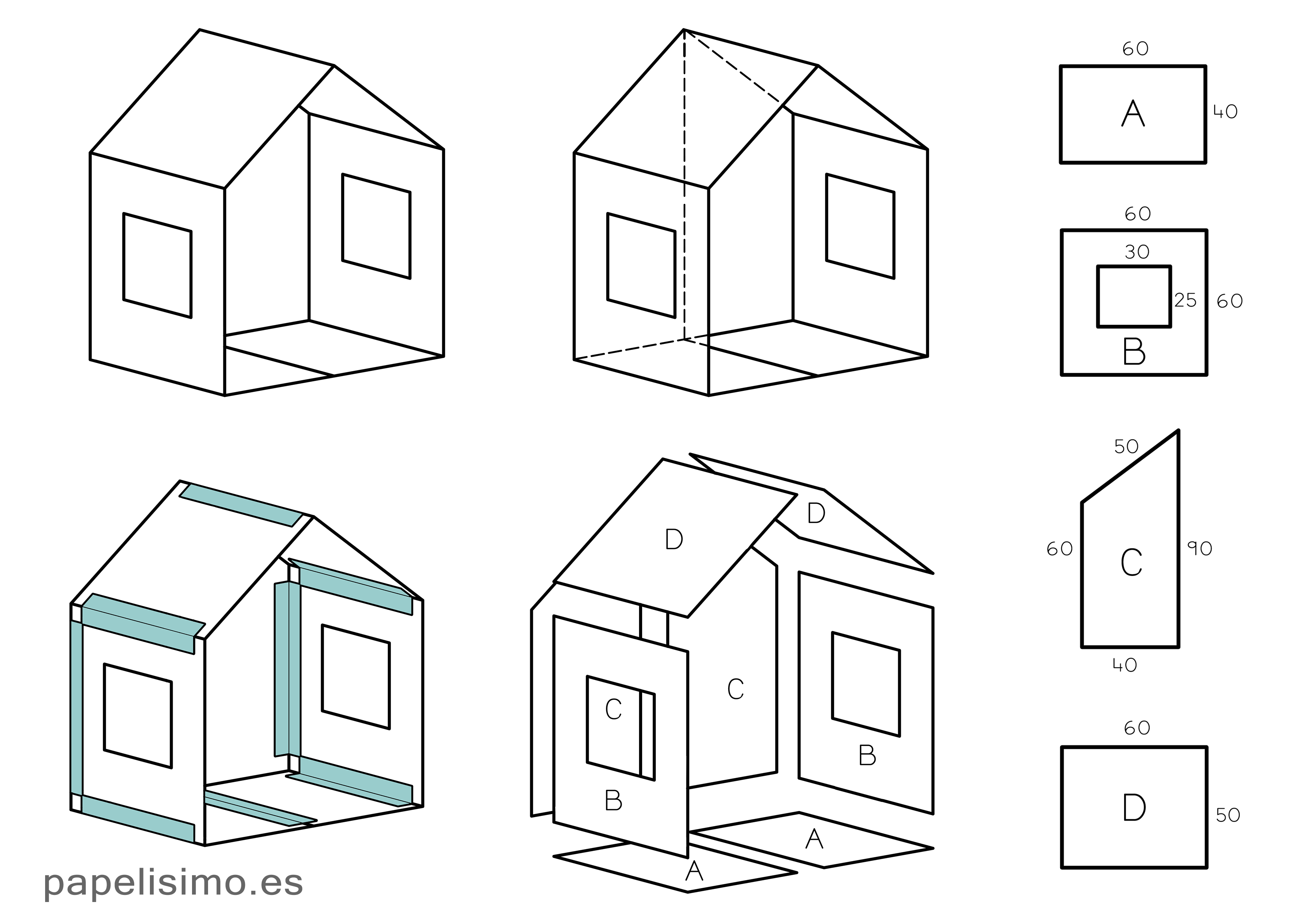C mo hacer casa de cart n para ni os plegable papelisimo - Como hacer una casa de madera para ninos ...