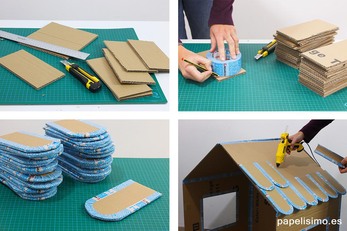 Tejas-casa-de-cartón-plegable-Folding-cardboard-house-DIY