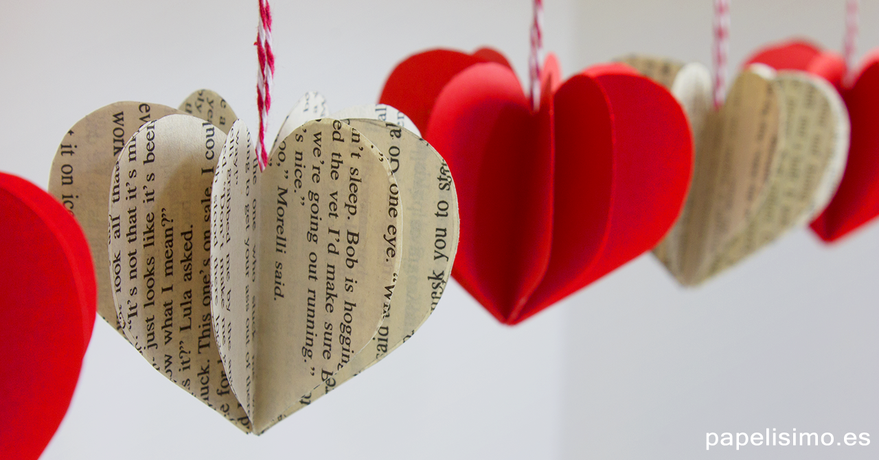 Corazones 3D de papel origami paper hearts