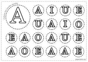 LETRA A Vocales para imprimir mayusculas colorear iguales