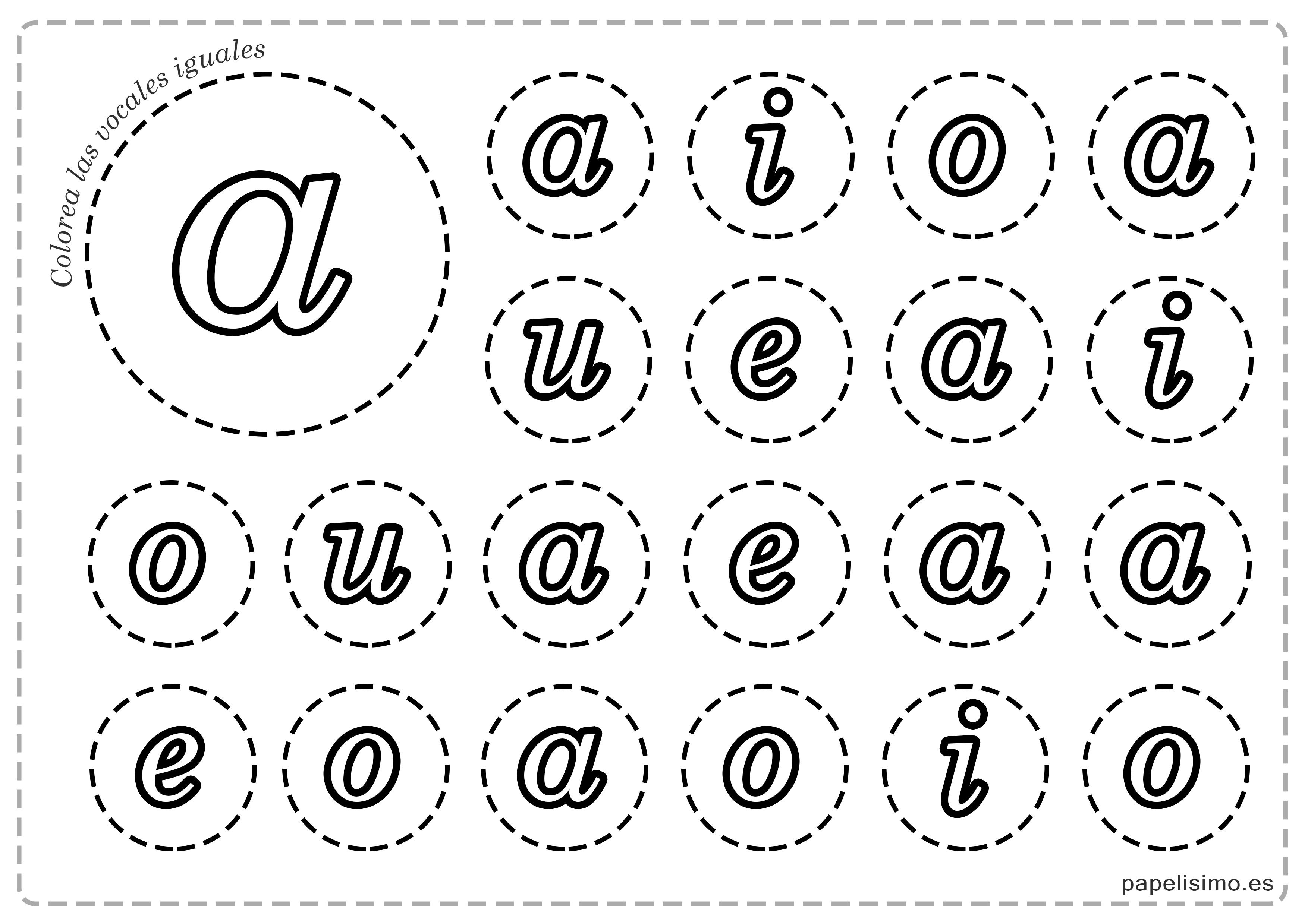 Vocales para imprimir y colorear (mayúsculas y minúsculas