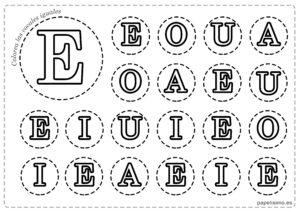 LETRA E Vocales para imprimir mayusculas colorear iguales