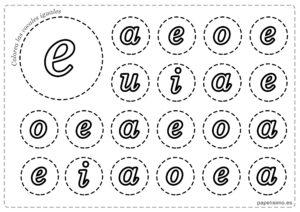 LETRA E Vocales para imprimir minusculas colorear iguales
