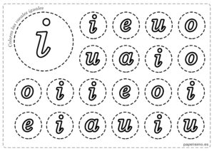 LETRA I Vocales para imprimir minusculas colorear iguales